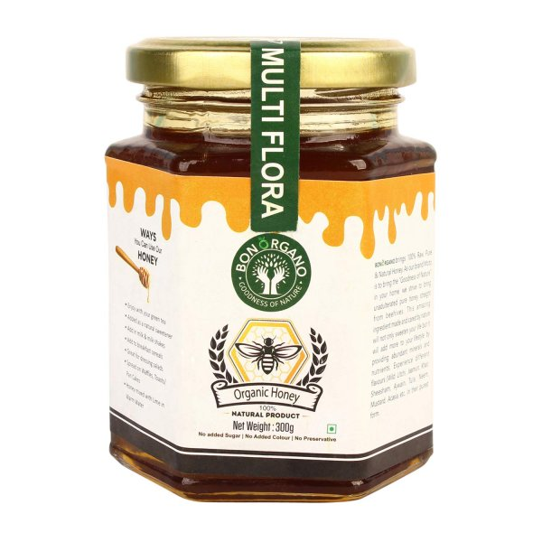BON ORGANO™ Unprocessed Pure Multiflora | Wild Forest | Multifloral Honey | Organic Raw Honey | 100% Natural | No preservatives | No Artificial Color | No Added Sugar