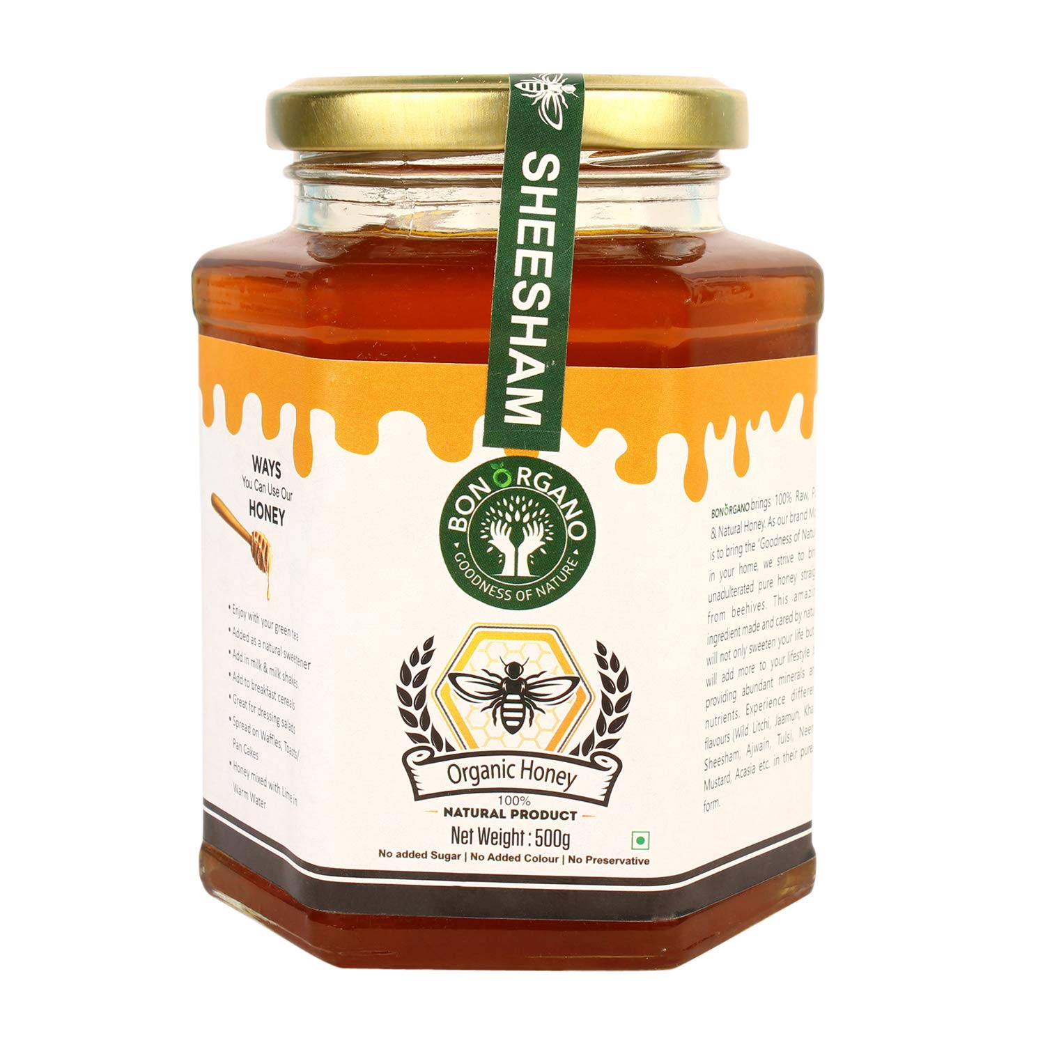 BON ORGANO™ Unprocessed Pure Sheesham | Rosewood Honey | Organic Raw Honey | 100% Natural | No preservatives | No Artificial Color | No Added Sugar