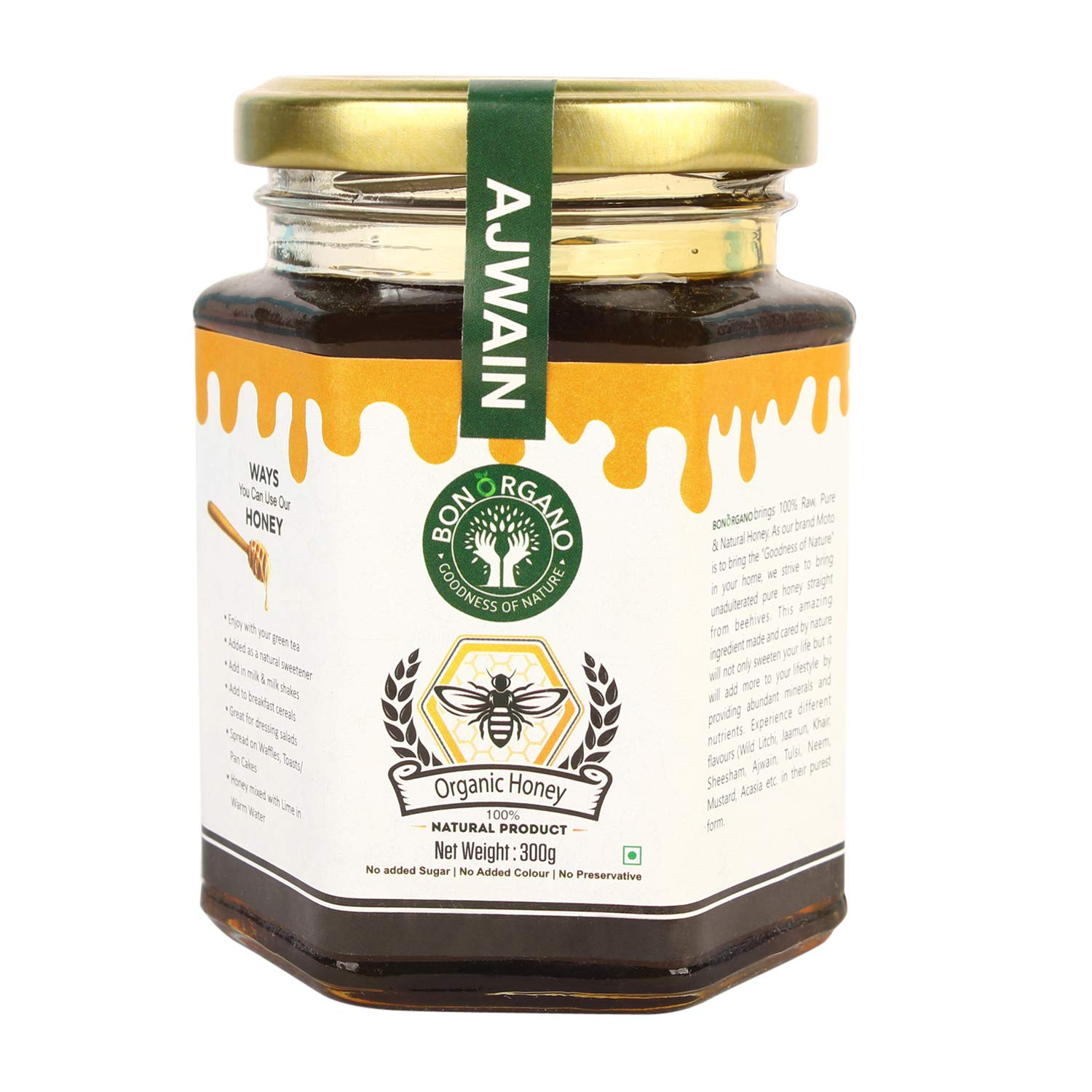 BON ORGANO™ Unprocessed Pure AJWAIN | Bishop's Weed| Carom Seeds | Organic Raw Honey | 100% Natural | No preservatives | No Artificial Color | No Added Sugar