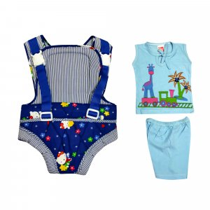 Baby Carrier with Baby top and bottom set from Love Baby - DK05 Navy P7