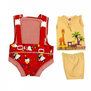 Baby Carrier with Baby top and bottom set from Love Baby - DK05 Red P7