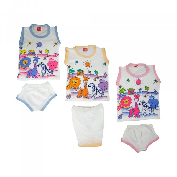 Basisc 3 Cotton Hosiery Shirt With 3 Pant Set  - BC11